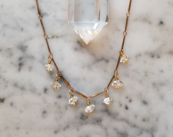Raw brass bar link necklace with Herkimer diamonds
