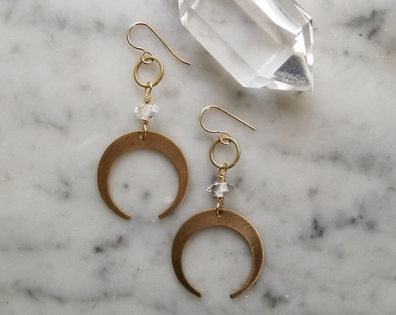 Crescent moons with herkimer diamonds brushed brass gold filled ear wires
