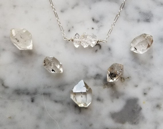 Tiny, delicate sterling silver necklace with Herkimer diamond trio
