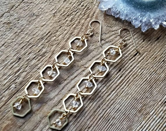 Herkimer diamond accented honeycomb brass dangles