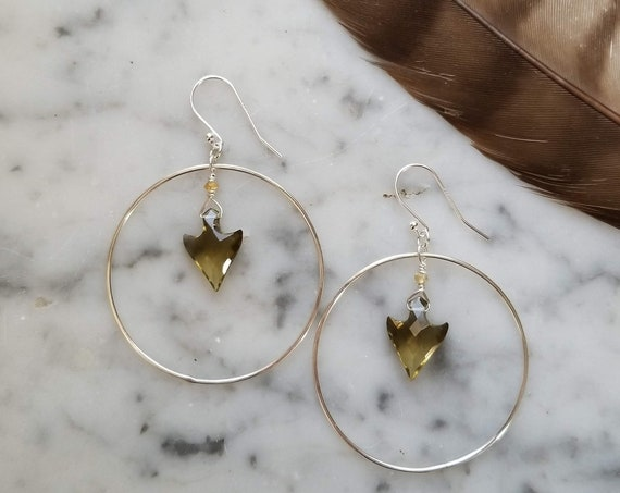 Lemon quartz arrows with citrine in sterling silver circles