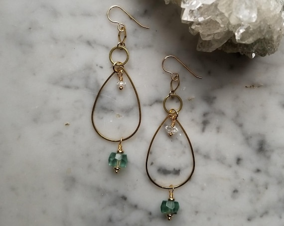 Fluorite and herkimer diamonds on brass teardrops