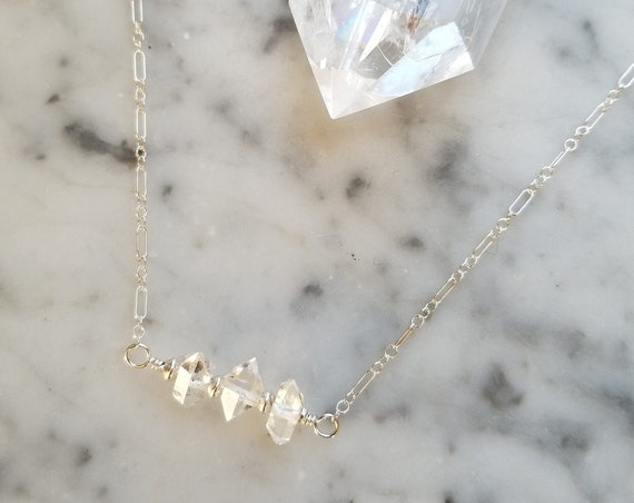Delicate sterling silver necklace with a trio of Herkimer diamonds 16 inch or 18 inch