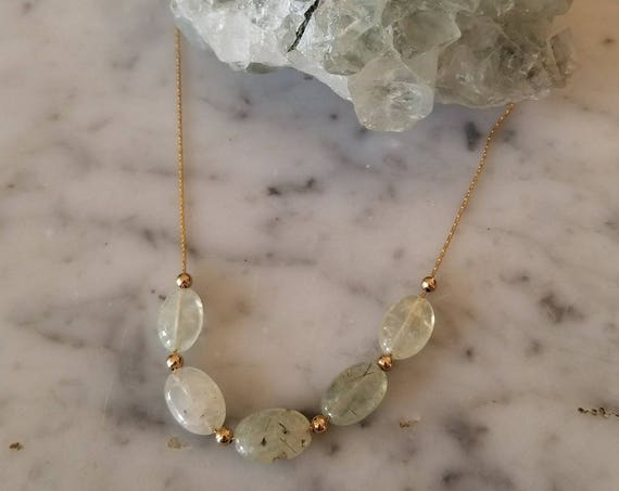 Prehnite oval beads on gold filled chain NGP002