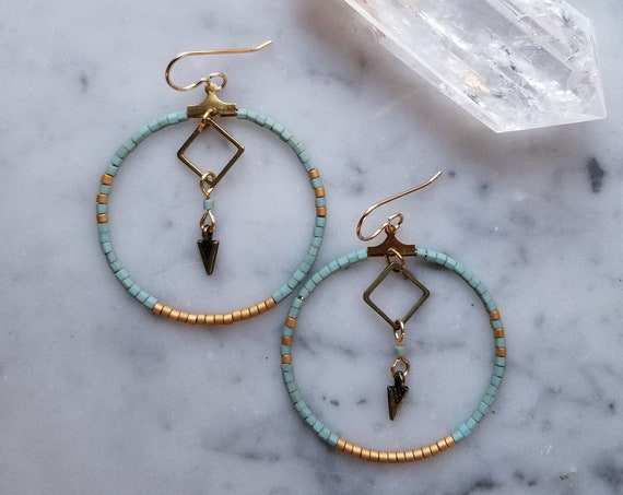 Brass hoops with matte turquoise and gold seed beads geometric arrowhead