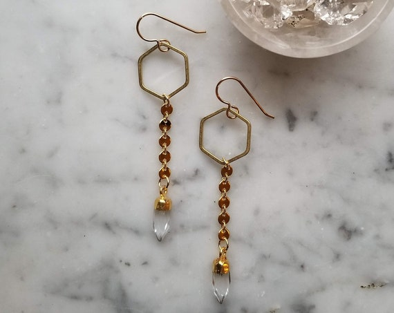 Brass hexagons with shiny gold coin chain and faceted clear quartz points