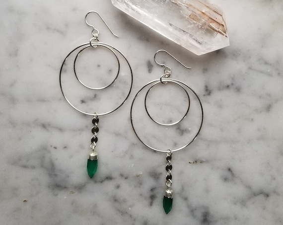 Sterling silver double circles with sterling coin chain and faceted green onyx points