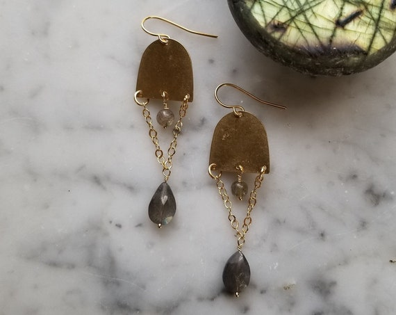 Small brass half moons with labradorite dangles