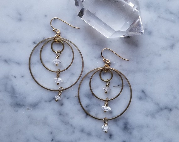 Herkimer diamonds on brass connected circles rings hoops
