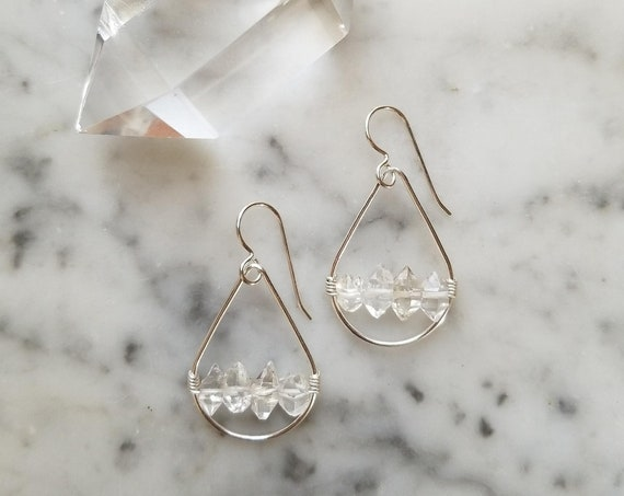Petite sterling silver teardrop earrings with herkimer diamonds