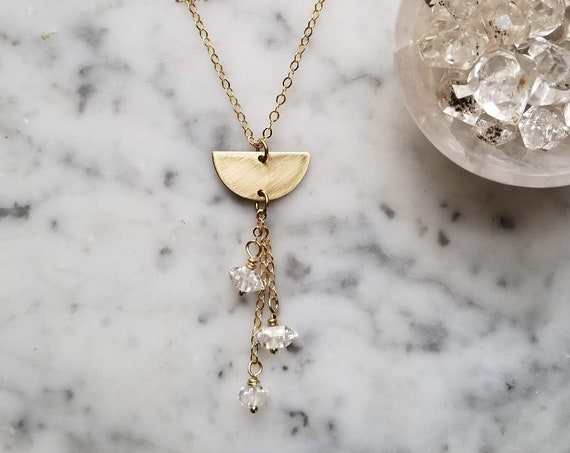 Brass moon pendant with herkimer diamond dangles on gold plated chain NGH003