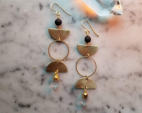 Smaller brass moon phase triple goddess earrings with lava stone and faceted quartz crystals - EBQ008
