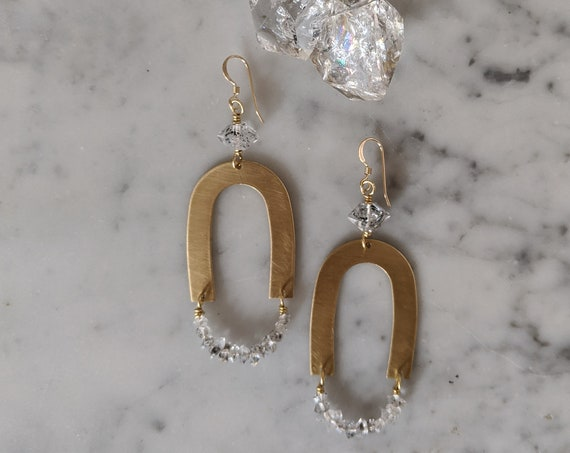Brass arch geometric dangle earrings with herkimer diamonds - EBH015