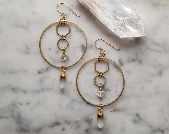 Brass circles and hexagons with shiny gold coin chain and faceted clear quartz points