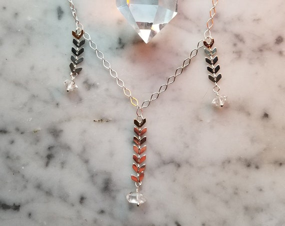 Herkimer diamonds on sparkly silver chevron chain