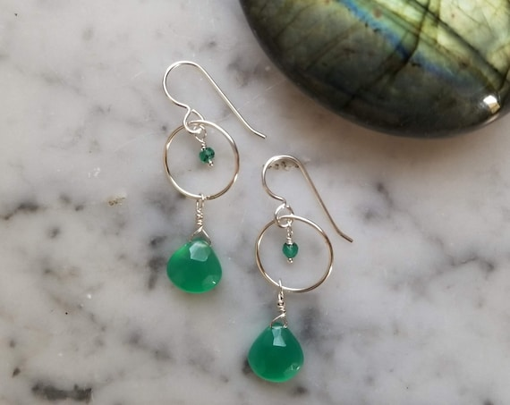 Green onyx on sterling silver circles with sterling silver ear wires