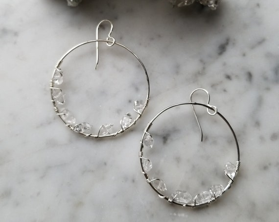"1.5"" wide Herkimer diamond lined sterling silver hoops Pleiades seven sisters half moon large - ESH007"