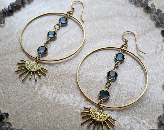Vintage blue Swarovski on brass earrings with sunbursts