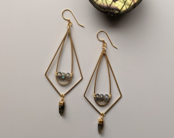Labradorite and brass kinetic geometric dangle earrings