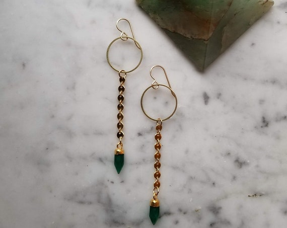 Brass circles with shiny gold coin chain and faceted green onyx points