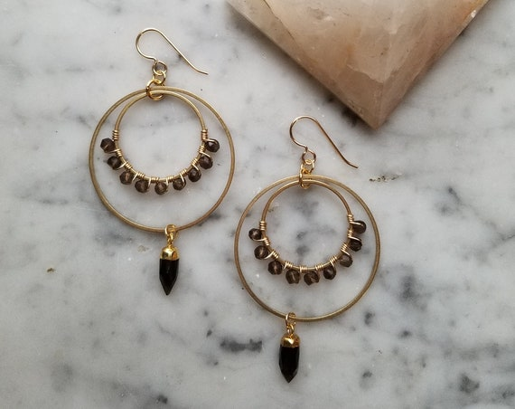Smoky quartz wrapped brass circles with faceted smoky quartz crystal points