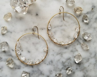 Herkimer diamond lined brass hoops Pleiades seven sisters half moon