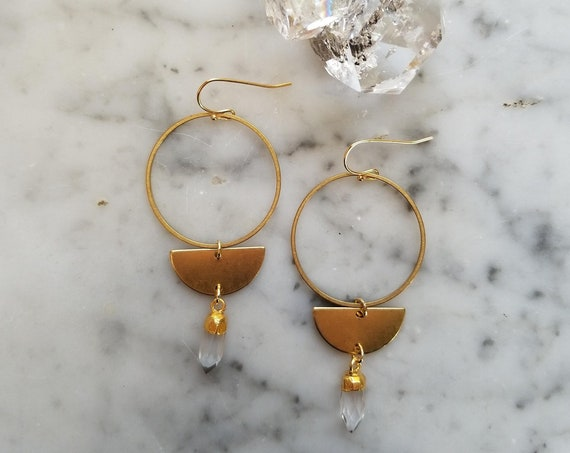 Brass moon phase earrings with faceted quartz crystal points