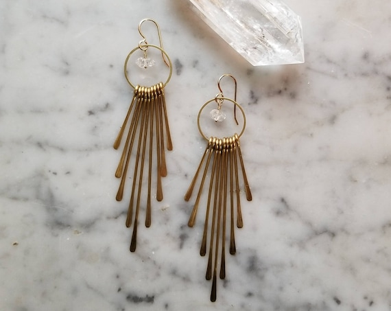 Water clear Herkimer diamonds with brass fringe