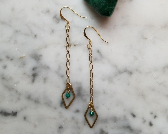 Green onyx with raw brass diamond dangle earrings