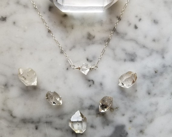 Tiny, delicate sterling silver necklace with single Herkimer diamond