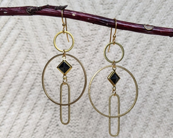 Smaller geometric earrings - brass framed black lucite diamond, brass shapes circles ovals