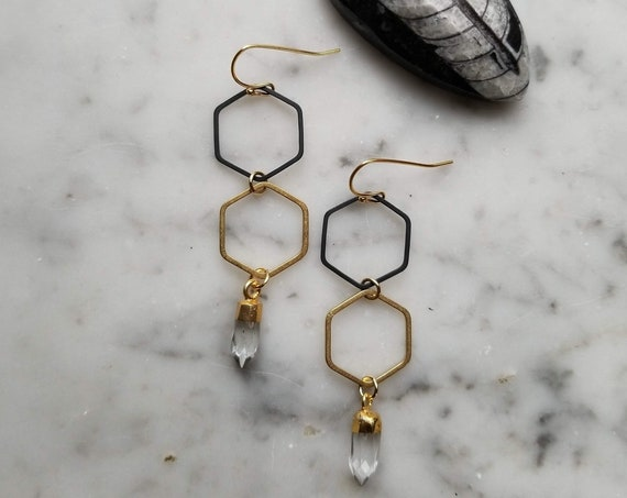 Honeycomb hexagon black and gold with quartz point accents