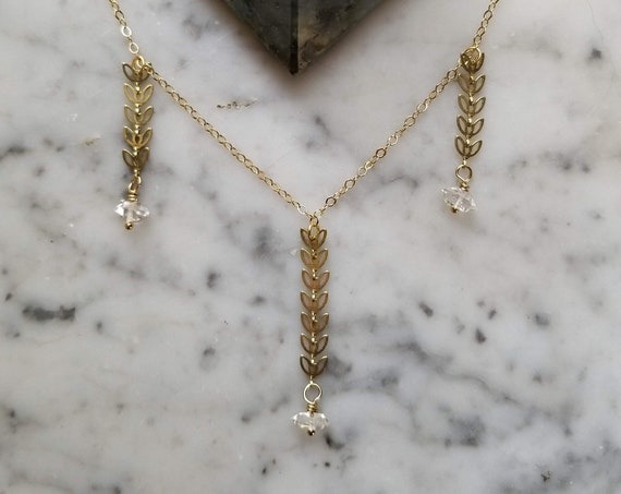 Herkimer diamonds on petal leaf gold brass chain