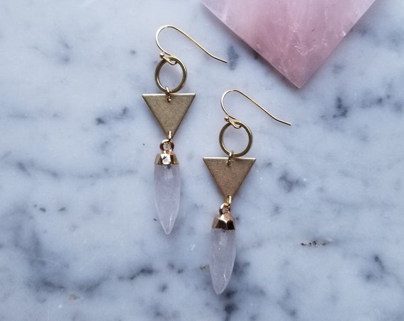 Geometric brass circle and triangle with gold-topped faceted quartz crystal points