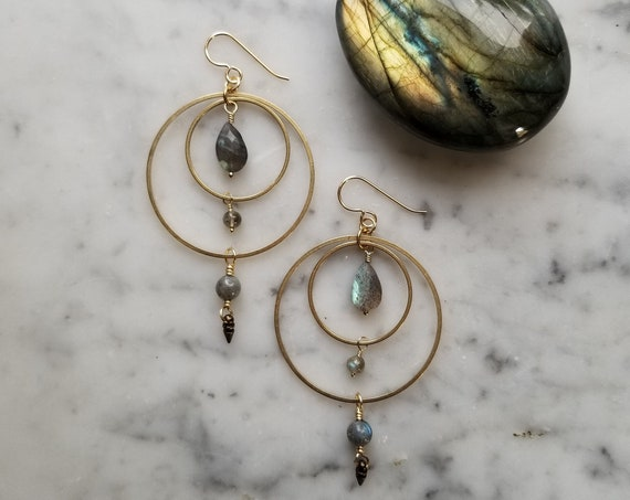 Labradorite and brass concentric circle geometric dangle earrings