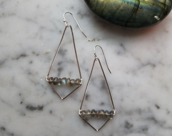 Sterling silver kite earrings with labradorite