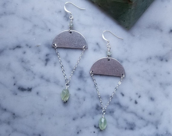 Silver half moons with prehnite accents