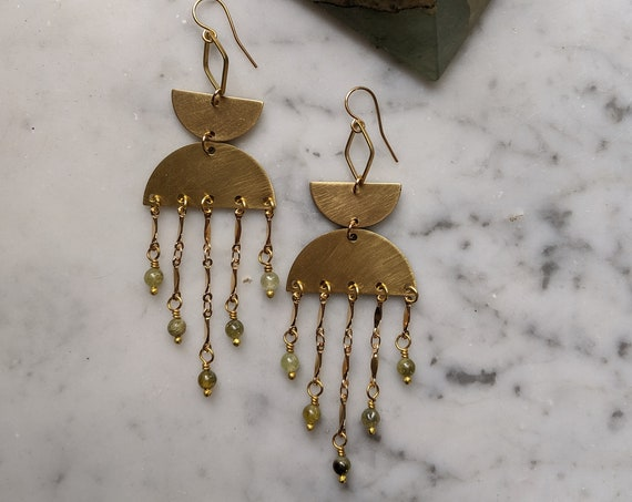 Prehnite on brass half moons with decorative brass bar chain fringe - EBP002
