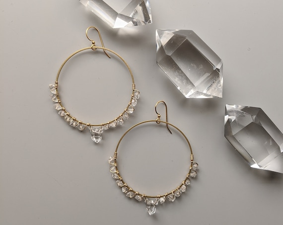 Herkimer diamond lined brass hoops with large Herkimer dangles