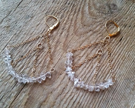 Herkimer diamond chandelier earrings on gold-filled chain