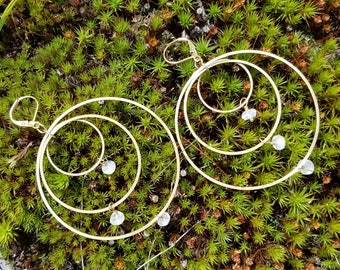 Moonstone on brass connected circles rings hoops