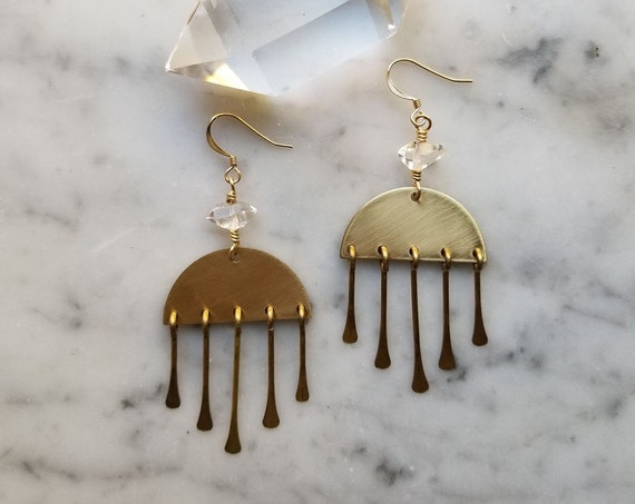 Herkimer diamond on brass half moons with brass fringe