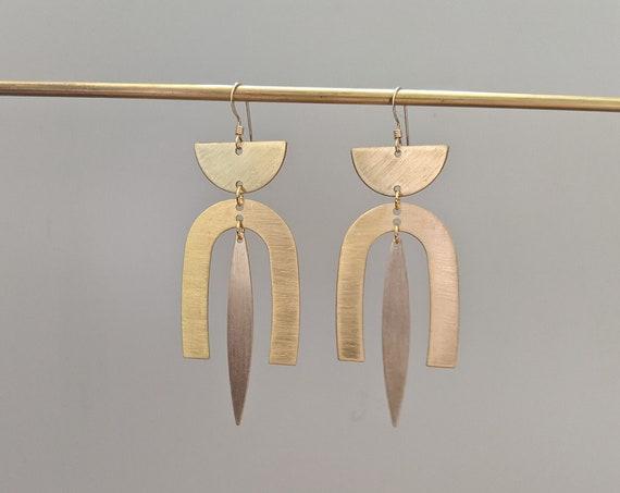 Brass kinetic geometric half moon dangle earrings