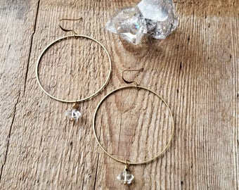 Brass hoops with herkimer diamonds