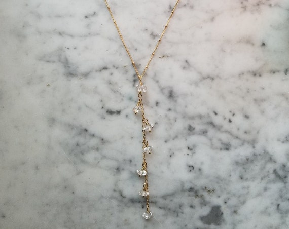 Herkimer diamond Y necklace on gold satellite chain lariat dainty - NGH005