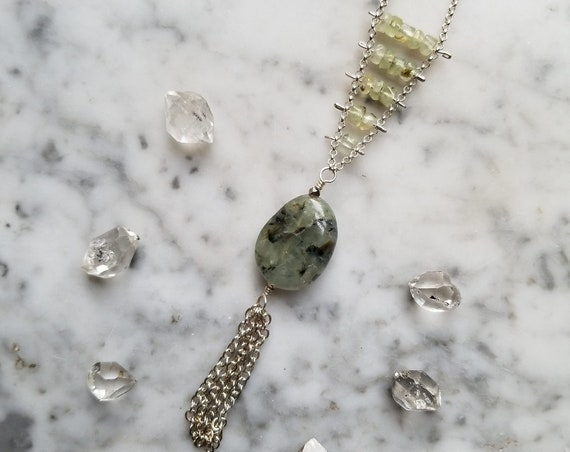 Pinned prehnite necklace with focal bead and chain fringe
