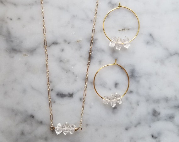 Gift set with gold filled necklace with Herkimer diamond trio and gold plated herkimer diamond hoops