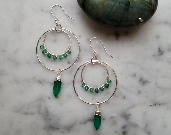 Green onyx wrapped sterling circles with silver topped green onyx point