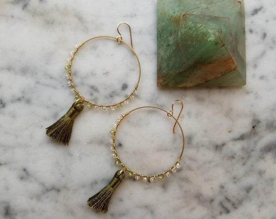 Olive green tassel earrings with peridot and quartz on brass