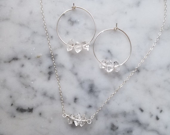Gift set with delicate sterling silver necklace with Herkimer diamond trio and sterling herkimer diamond hoops